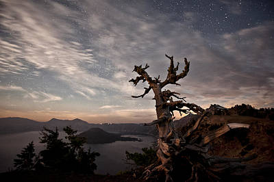 Photograph - Crater Lake Bathed In Moonlight by Melany Sarafis