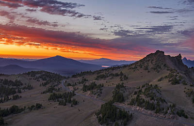 Photograph - Crater Lake National Park Sunset by Spencer Bodian