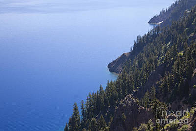 Photograph - Crater Lake Ringed By Steep, Fir Clad by Ellen Thane