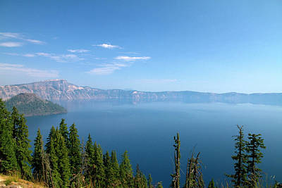Crater Lake Shrouded In Smoke Print by David R. Frazier