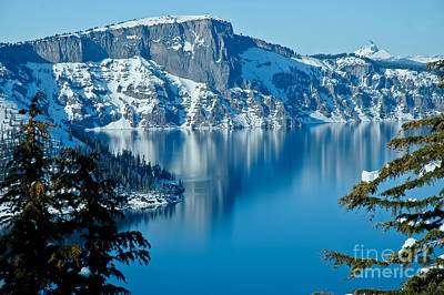 Compostion Photograph - Crater Lake Winterscape by Nick  Boren