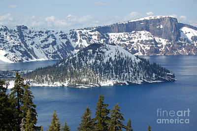 Art Print featuring the photograph Crater Lake With Snow by Debra Thompson