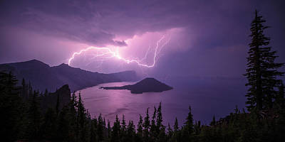 Lightning Photograph - Crater Storm by Chad Dutson