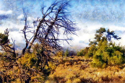 Digital Art - Craters Of The Moon Sagebrush And Trees by Kaylee Mason