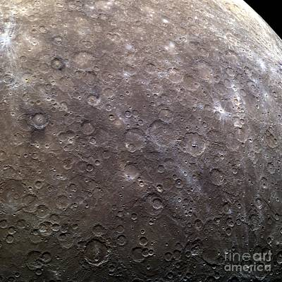 Surface Feature Photograph - Craters On Mercury, Messenger Image by Nasa