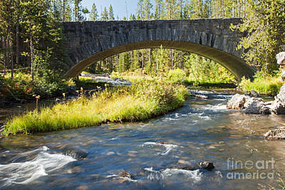 Photograph - Crawfish Creek Bridge Over Crawfish Creek In Yellowstone National Park by Fred Stearns