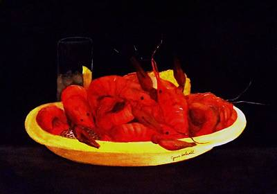 Painting - Crawfish Small Portion by June Holwell