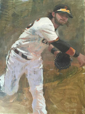 Baseball Art Painting - Crawford Throw To First by Darren Kerr