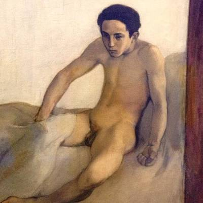 Crawling Out Of Bed #naked #nude #boy Art Print