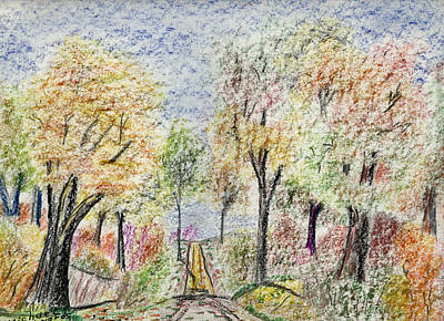 Indiana Landscapes Drawing - Crayon Road by Michael Anthony Edwards