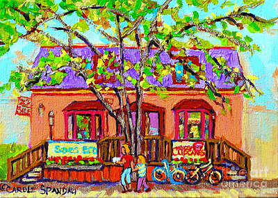 Painting - Crazy About Cupcakes Pointe Claire Village Artisan Shops  Saint Anne De Bellevue Montreal  by Carole Spandau