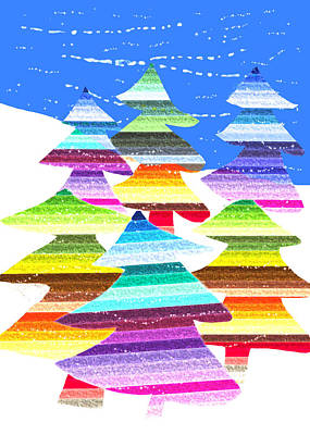 Digital Art - Crazy Christmas Trees by Stephanie Grant