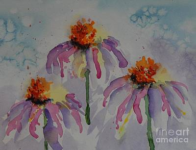 Drippy Painting - Crazy Cone Flowers by Gretchen Bjornson