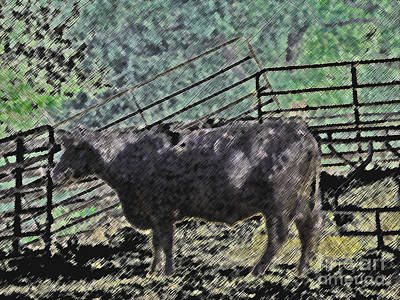 Crazy Cow Art Print by Minding My  Visions by Adri and Ray