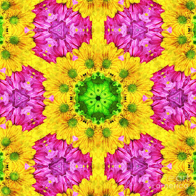 Wanna Mixed Media - Crazy Daises - Spring Flowers - Bouquet - Gerber Daisy Wanna Be - Kaleidoscope 1 by Andee Design