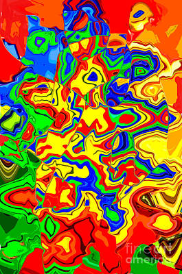 Digital Art - Crazy Day Abstract In Primary Colors  by Luther Fine Art
