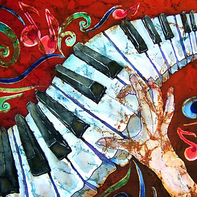 Crazy Fingers Piano Square Art Print by Sue Duda