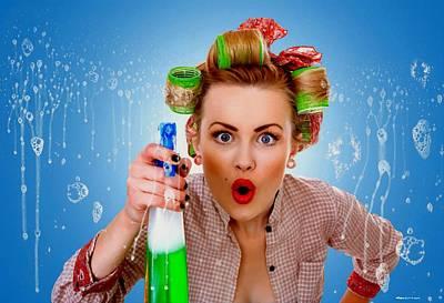 Digital Art - Crazy Girl Cleaning by Gabriel T Toro