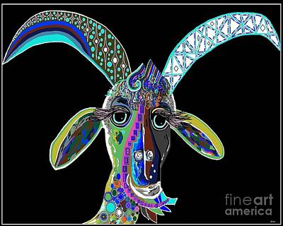 Goat Painting - Crazy Goat On Black  by Eloise Schneider