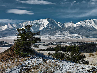 First Snow Photograph - Crazy Mountains Montana by Leland D Howard