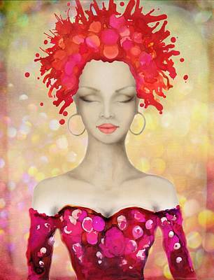 Painting - Crazy Pink Hair Night Out by Lilia D