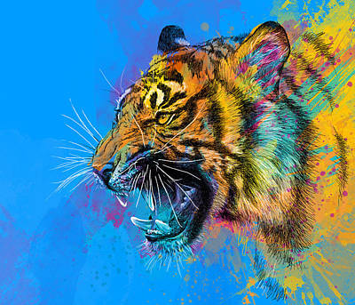 Vibrant Digital Art - Crazy Tiger by Olga Shvartsur