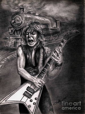 Heavy Metal Drawing - Crazy Train by Kathleen Kelly Thompson