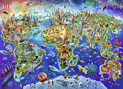 World Map Drawing - Crazy World by Adrian Chesterman