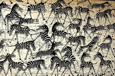Tanzania Painting - Crazy Zebra by Nickson  Ndangalasi