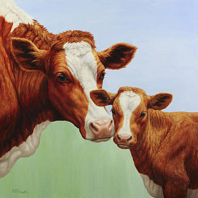 Dairy Cows Painting - Cream And Sugar by Crista Forest