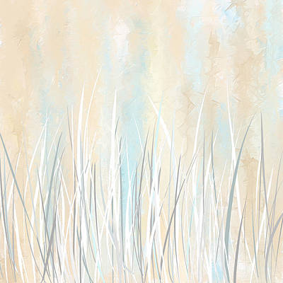 Light-brown Painting - Cream And Teal Art by Lourry Legarde