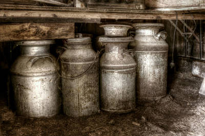 Photograph - Cream Cans All In A Row by Michele Richter