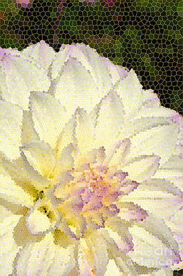 Digital Art - Cream Colored  Dahlia In Stained Glass by Eva Kaufman