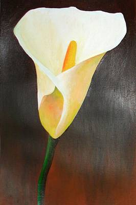 Painting - Cream Lily by Taiche Acrylic Art