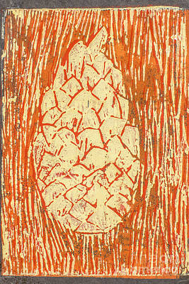 Lino Mixed Media - Creamy Pine Cone by Amanda Elwell