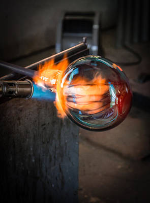 Art Blown Glass Photograph - Creation At The Glass Blowers Bench by Rob Travis