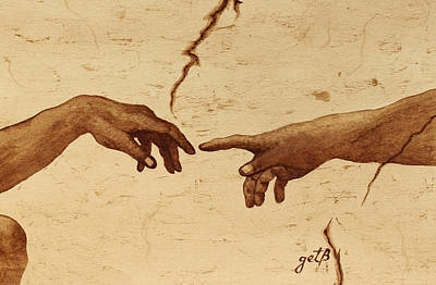 Creation Of Adam Hands A Study Coffee Painting Art Print by Georgeta  Blanaru