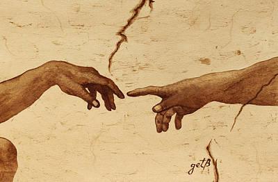 Creation Of Adam Hands A Study Coffee Painting Print by Georgeta  Blanaru