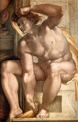 Creation Of Eve - Ignudo Detail Art Print by Michelangelo Buonarroti