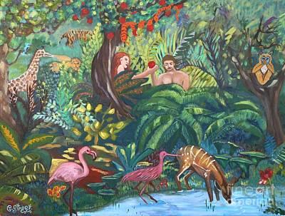 Carolinestreetart Painting - Creation Sixth Day. Earth Creatures Man Woman by Caroline Street