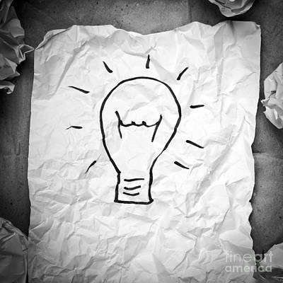 Creative Idea Black And White Art Print by Tim Hester