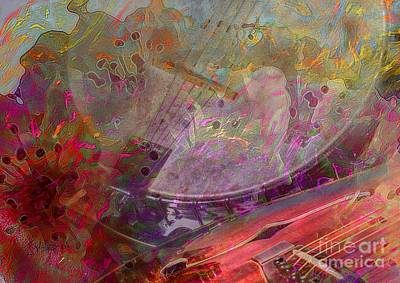 Creative Sounds Digital Banjo And Guitar Art By Steven Langston Art Print by Steven Lebron Langston