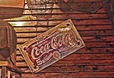 Creative Vintage Coca Cola Sign Art Print by Linda Phelps