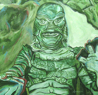 Painting - Creature From The Black Lagoon by Michael Morgan