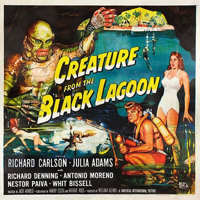 Horror Drawing - Creature From The Black Lagoon by MMG Archives