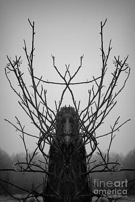 Creature Of The Wood Bw Art Print