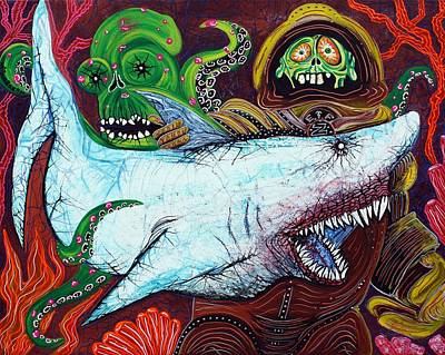 Scuba Painting - Creatures Of The Deep by Laura Barbosa