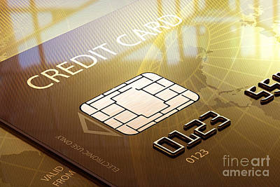 Earth Digital Art - Credit Card Macro - 3d Graphic by Johan Swanepoel