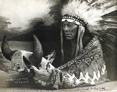 Photograph - Cree Chief With Buffalo Skull by H.C. Eklund