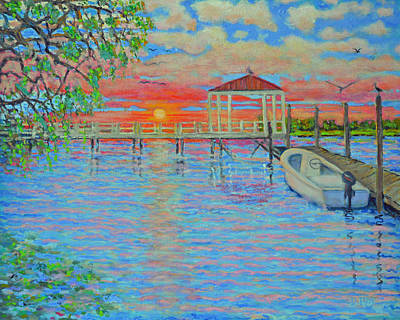 Creek Club Docks At Sunset Art Print by Dwain Ray